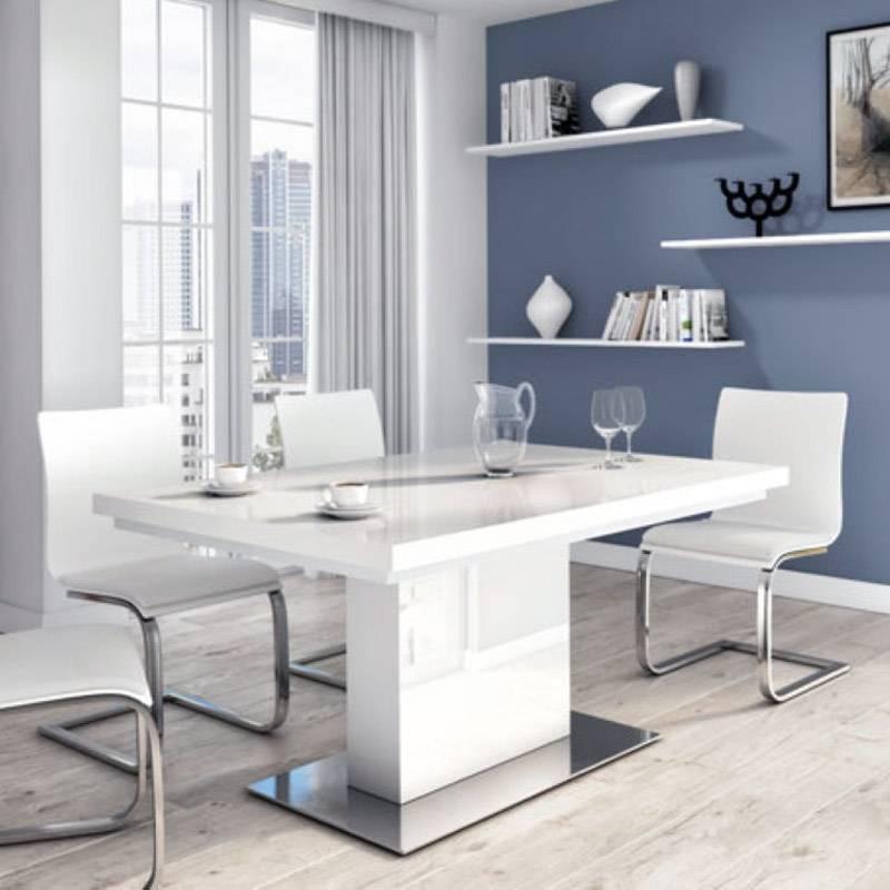 Table à base en acier inodyxable brossé et plateau verre blanc