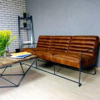 Canapé 3 places, de style industriel et vintage