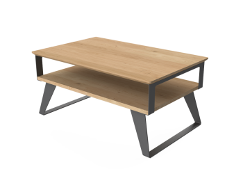 Table basse industrielle bois massif