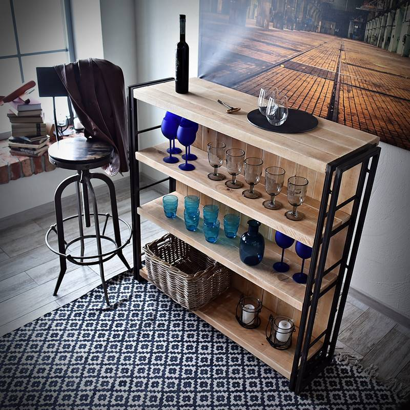 Bar de salon de style industriel STEEL WOOD