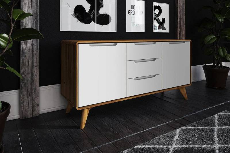 Buffet style scandinave 2 portes / 3 tiroirs BIANCO