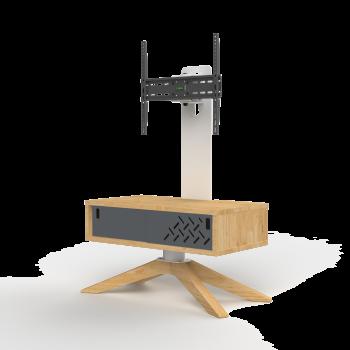Meuble TV HyBo72 pieds bois avec porte